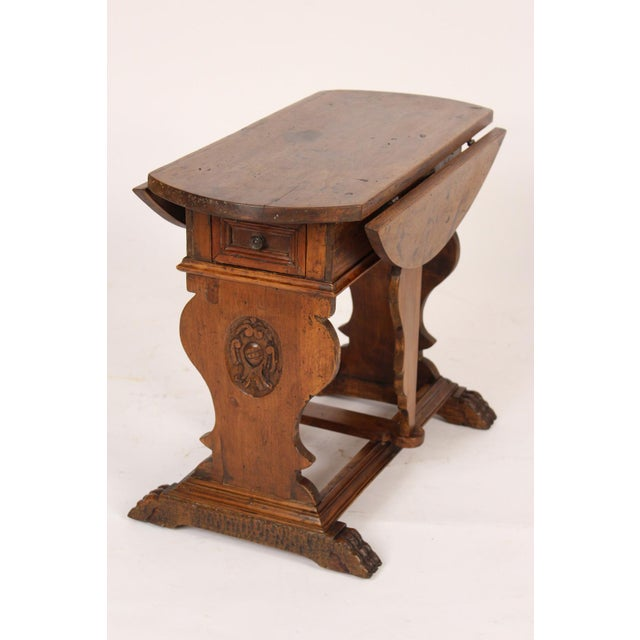 Baroque Baroque Style Drop Leaf Side Table For Sale - Image 3 of 12