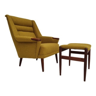 1970s Danish Armchair Wool Reupholstered Teak Wood Chair & Ottoman - a Pair For Sale