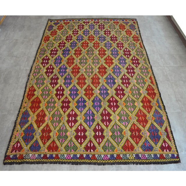 Masterpice Hand Woven Vintage Braided Turkish Rug Wool Kilim Jajim- 5′7″ × 9′2″ For Sale - Image 11 of 11