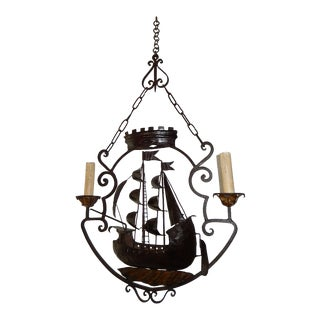 1900s Nautical Sailing Boat Ship Wrought Iron Chandelier For Sale