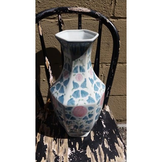 Hand Painted Peonies Porcelain Vase - Image 4 of 6