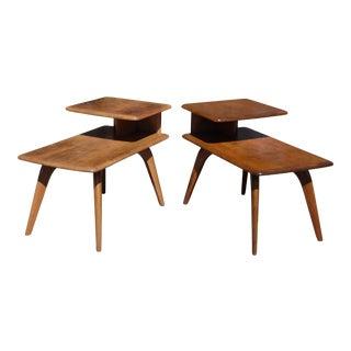 Vintage Mid Century Modern Pair Heywood Wakefield Birch Step End Tables For Sale