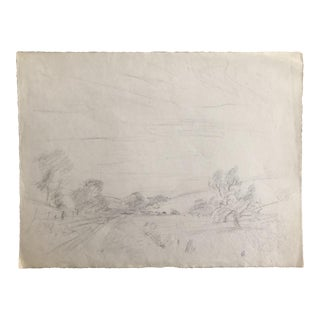 1930s Vintage Eliot Clark American Impressionist Inspired Landscape Drawing For Sale