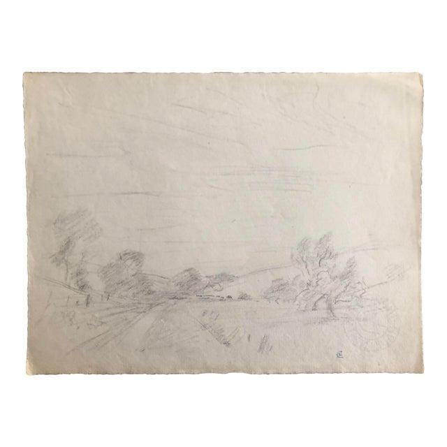 1930s Vintage Eliot Clark American Impressionist Landscape Drawing For Sale