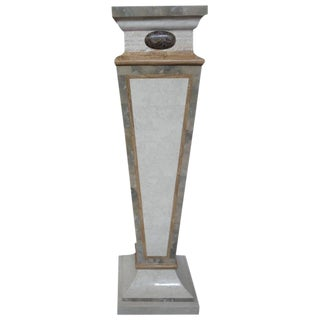 1970's Art Deco Style Tessellated Travertine and Marble Pedestal For Sale