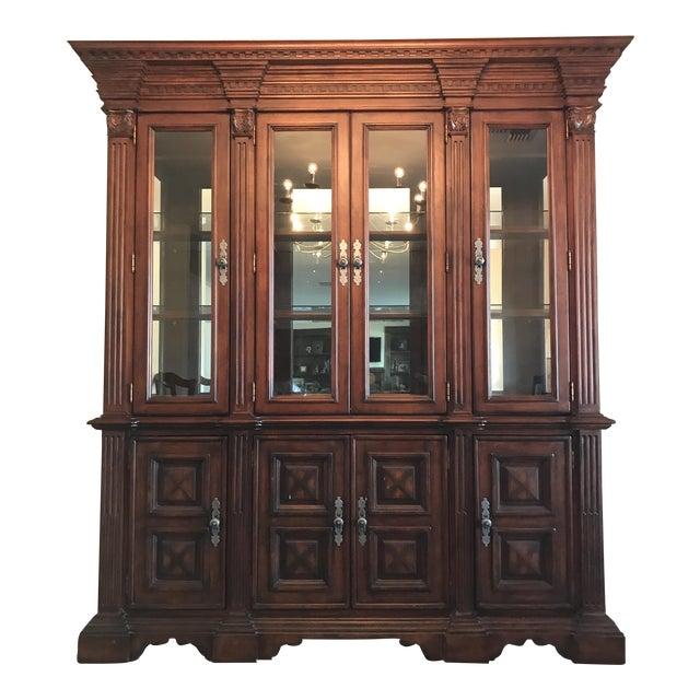 Traditional Large Lighted China Cabinet - Image 1 of 5