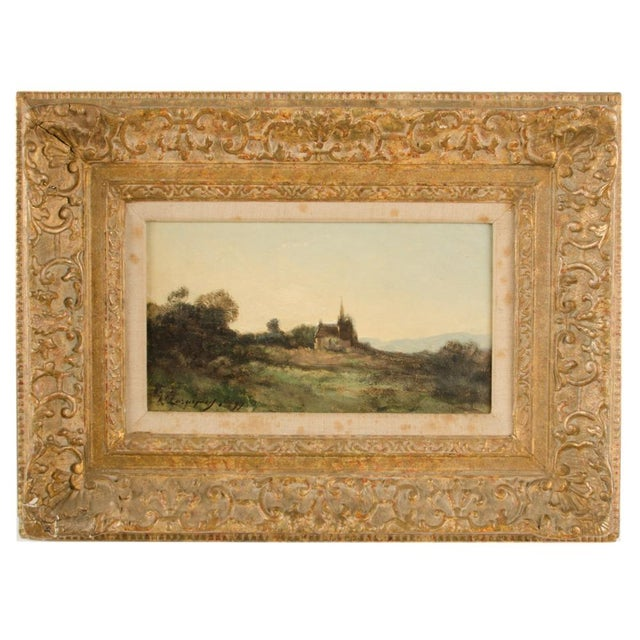 """Early 20th Century """"Lonely Church"""" Landscape Oil Painting, Framed For Sale - Image 10 of 10"""