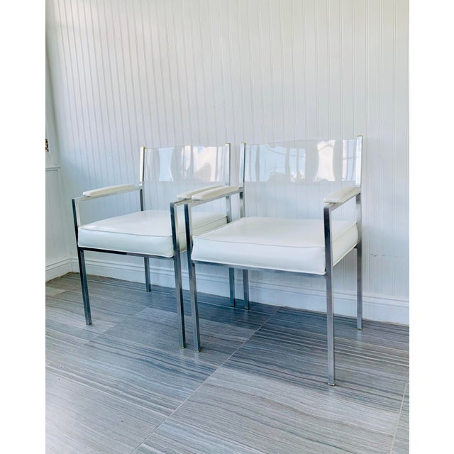 1970s Vintage Lucite Armchairs- A Pair For Sale - Image 13 of 13
