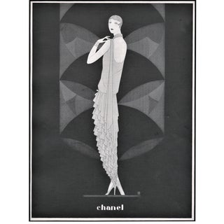 Matted Vintage Art Deco Chanel Fashion Print For Sale
