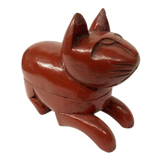 1980s Japanese Hand Carved Heavy Wood Cat Covered Box For Sale