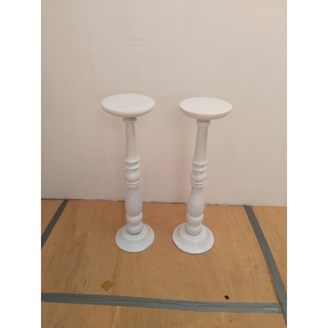 White Wooden Plant Stands - A Pair - Image 2 of 5