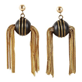 Unusual Victorian Golden Snitch Earrings For Sale