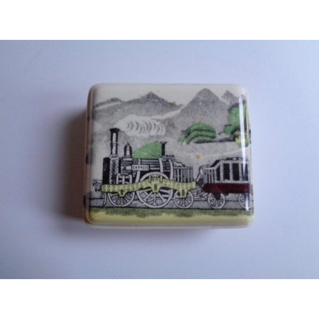 """A sweet vintage porcelain box, made in England for """"P.V"""", from the Railway line. Two-piece box depicts an express..."""