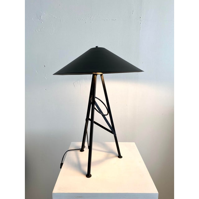 Milano Memphis meets goth in this on trend 1980s table lamp. Black metal base & shade. Not too big, not too small, just...