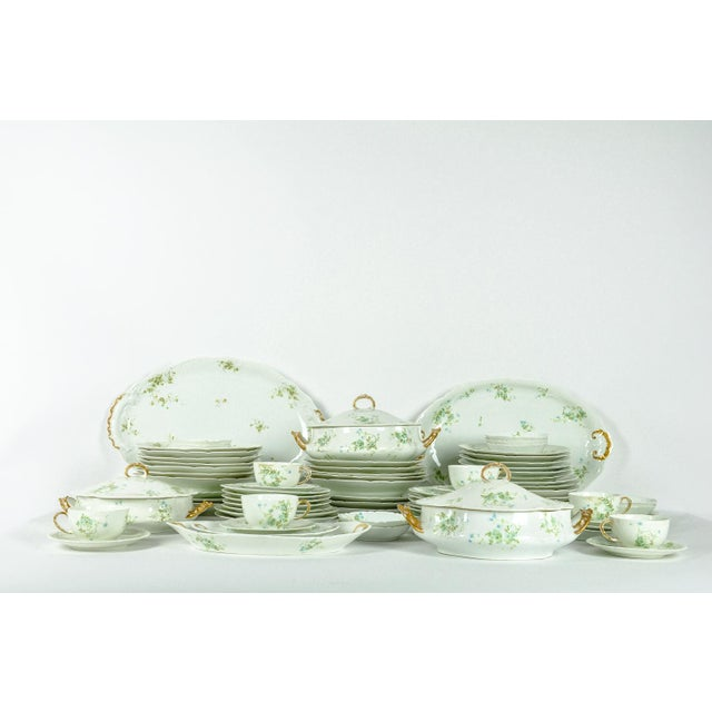 "Vintage France Limoges porcelain dinnerware service. All together the set includes 73 pieces. 8 Dinner plates 9.5"" 11..."