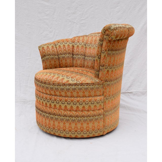 Green Channel Back Swivel Art Deco Inspired Chairs For Sale - Image 8 of 13