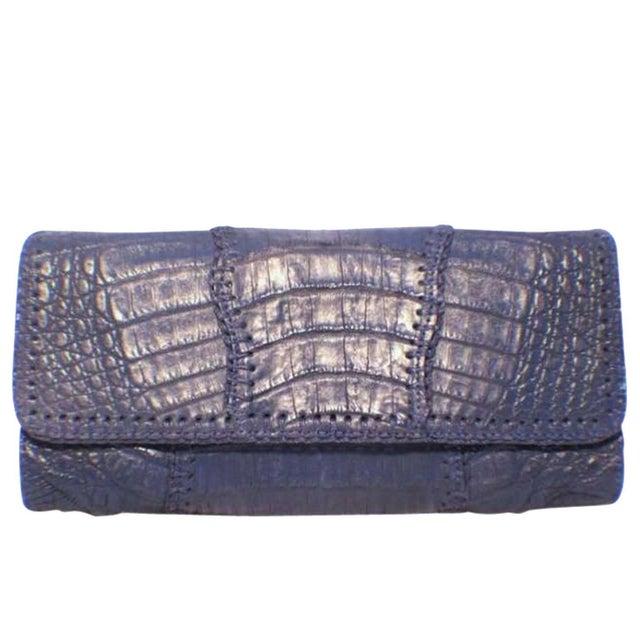 Leather Carlos Falchi Blue Crocodile Patchwork Clutch For Sale - Image 7 of 7