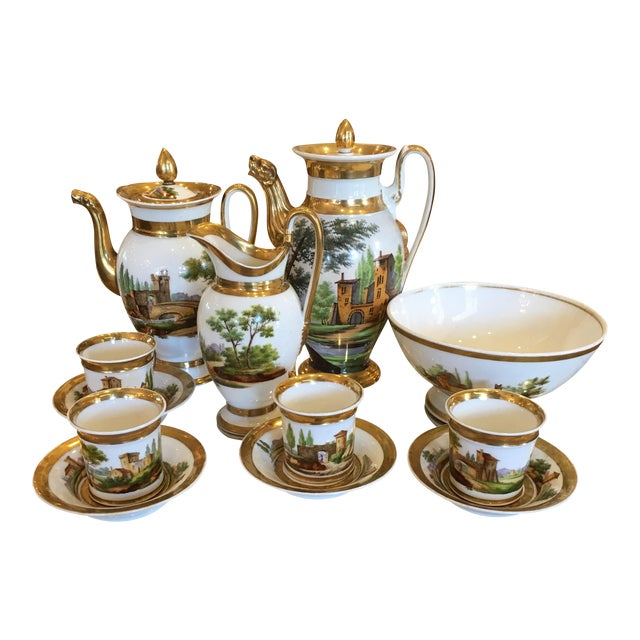 Antique Old Paris Porcelain Coffee Set - 12 Pieces - Image 1 of 7