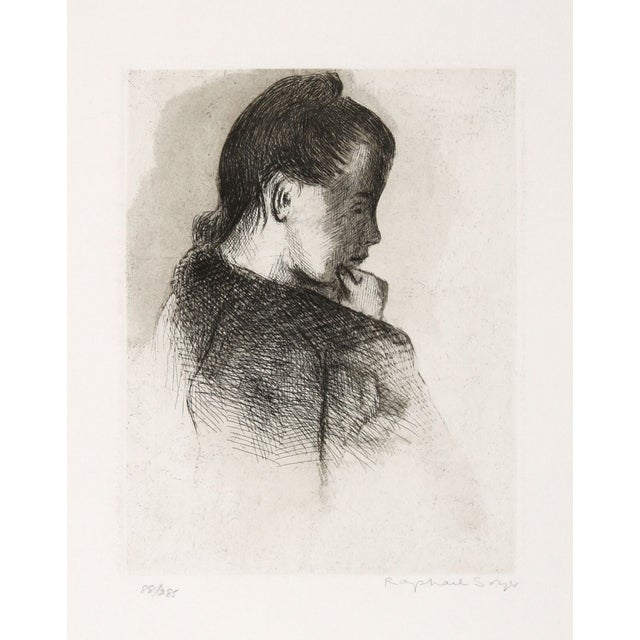 Raphael Soyer Etching - Portrait of a Girl - Image 2 of 2