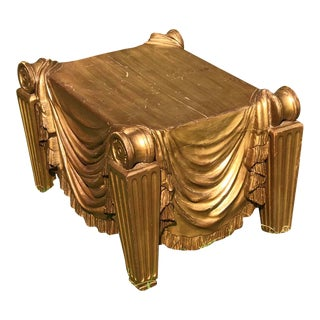 20th Century Hollywood Regency Gold Painted Swag Bench For Sale