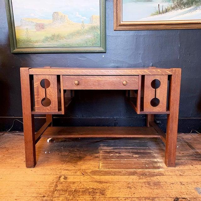 1930s Wood Craftsman Desk For Sale - Image 9 of 9