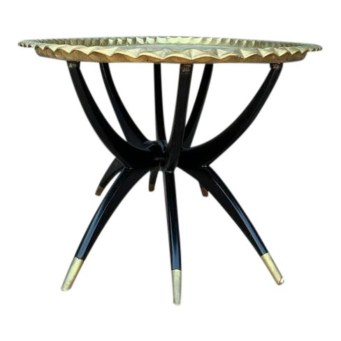 Mid Century Modern Morrocan Two Piece Brass and Ebony 6 Legged Sipder Oval Coffee Table For Sale