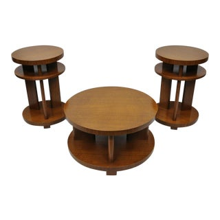 20th Century French Art Deco Round Mahogany 3 Piece Coffee End Table Set For Sale