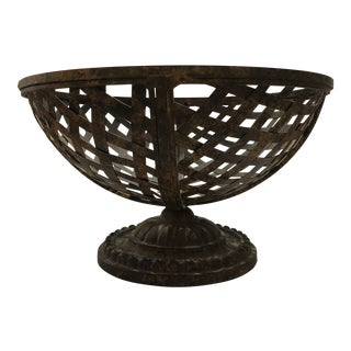 Wrought Iron Basket on Pedestal For Sale