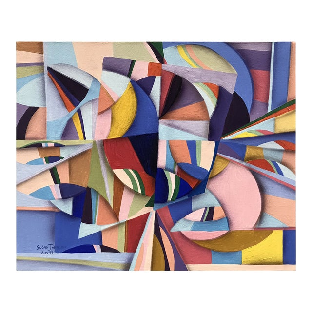 1994 Abstract Geometric Painting by Susan Johnson For Sale