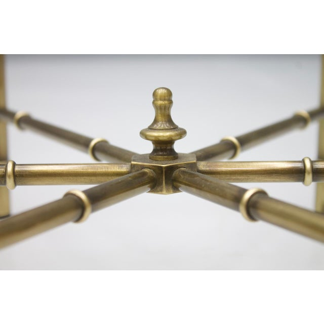 Set of Three Octagonal Side Table in Brass and Glass, 1970s For Sale - Image 4 of 12