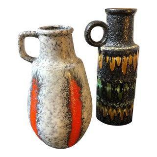 Two 1970s German Vintage Scheurich Lava Keramik Jugs For Sale
