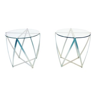 Pair of Amazing John Vesey Sculptural Aluminum and Glass End Tables or Accent Tables For Sale