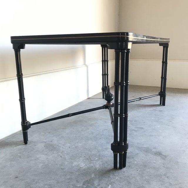 Regency 1930s Vintage English Regency Black Lacquered Coffee Table For Sale - Image 3 of 12