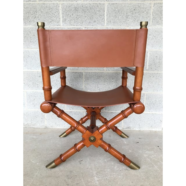 Brown Faux Bamboo Leather Directors Chair With Brass Accents For Sale - Image 8 of 8