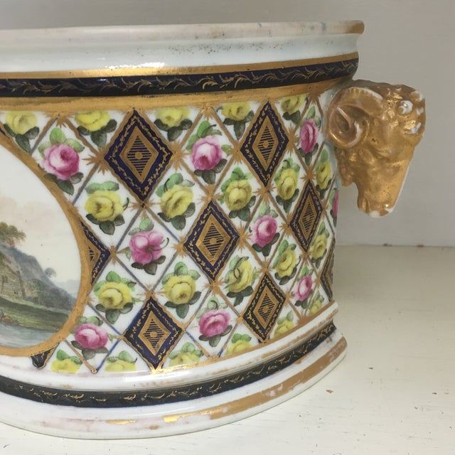 English Traditional 1800's Hand Painted Porcelain Rams Head Planter For Sale - Image 3 of 7