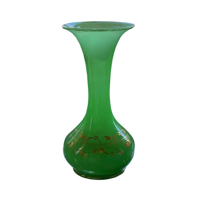 Antique French Green Opaline Glass Vase For Sale - Image 4 of 6