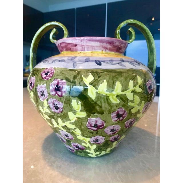 Danish Modern Impressionist Hand Painted Ceramic Urn Vase, Italy 1980's For Sale - Image 3 of 13