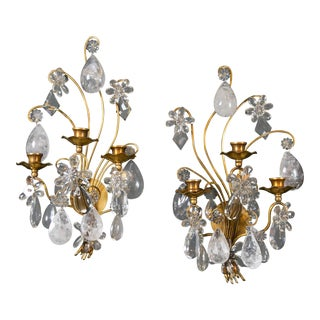 Bagues Rock Crystal Sconces - a Pair For Sale