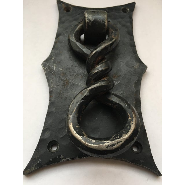 1930s Handmade Hammered Iron With Forged Twisted Door Knocker For Sale - Image 5 of 6