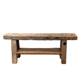 Rustic & Narrow, Pine Workbench With Shelf, French, Circa 1890. For Sale