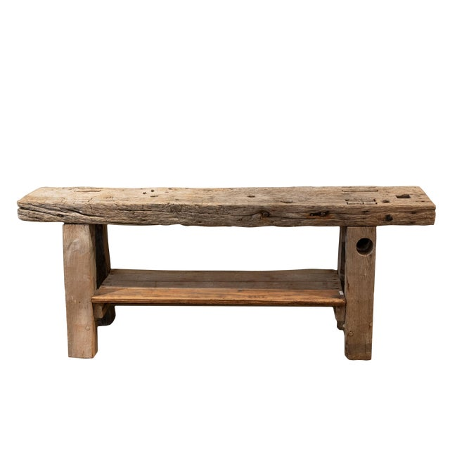 Rustic & Narrow Pine Workbench With Shelf, French, Circa 1890 For Sale