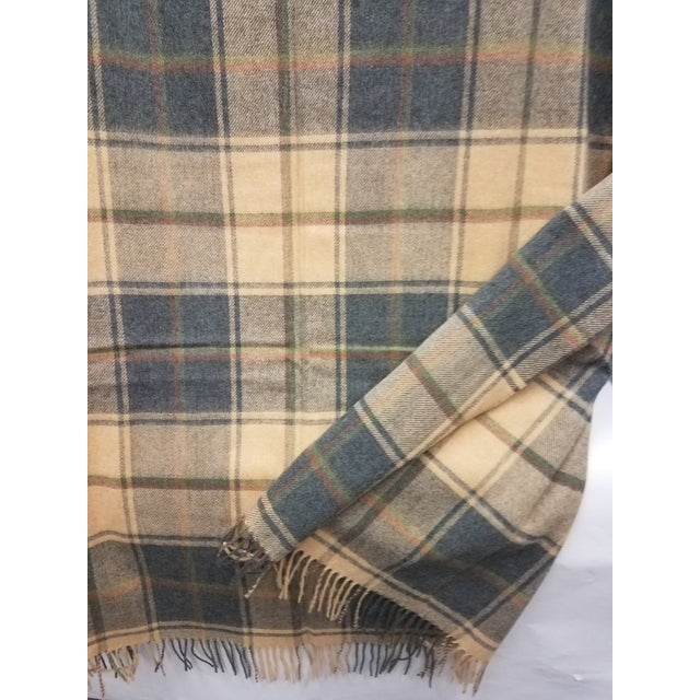 Merino Wool Throw Light Soft Beige Grey Green Red Plaid - Made in England For Sale In Dallas - Image 6 of 13
