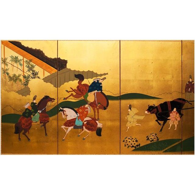 A gorgeous vintage Japanese Byobu Screen depicting a scene from The Tale of Genji, an important novel by Murasaki Shikibu...