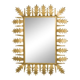1960s Spanish Rectangular Sunburst Mirror For Sale