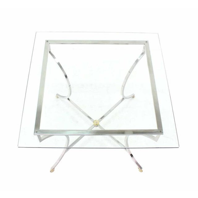 Brass Hoof Feet Chrome Glass Top Square Game Table For Sale In New York - Image 6 of 6