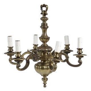 English Baroque Style Bronze Six Light Chandelier, Circa 1905 For Sale