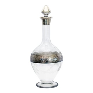 1950s Mid-Century Modern Crystal & Sterling Decanter