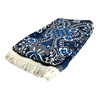 Vintage Boho Chic Blue & White Intricate Pattern Smithsonian Coverlet With Fringe For Sale