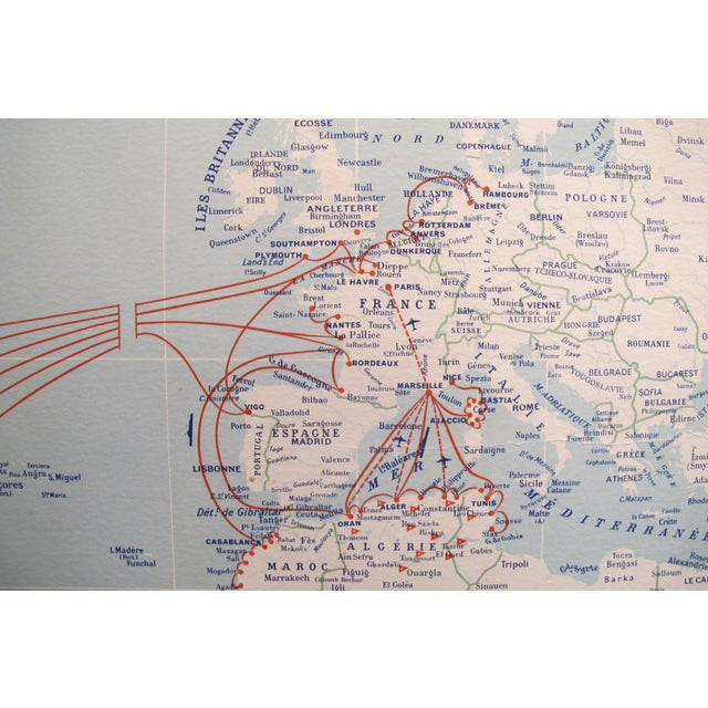Art Deco Original Vintage French North American Route Map, the French Line For Sale - Image 3 of 8