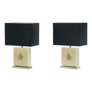 Large 1970s Mid-Century J.C. Mahey White Lacquer Brass Table Lamps - a Pair For Sale